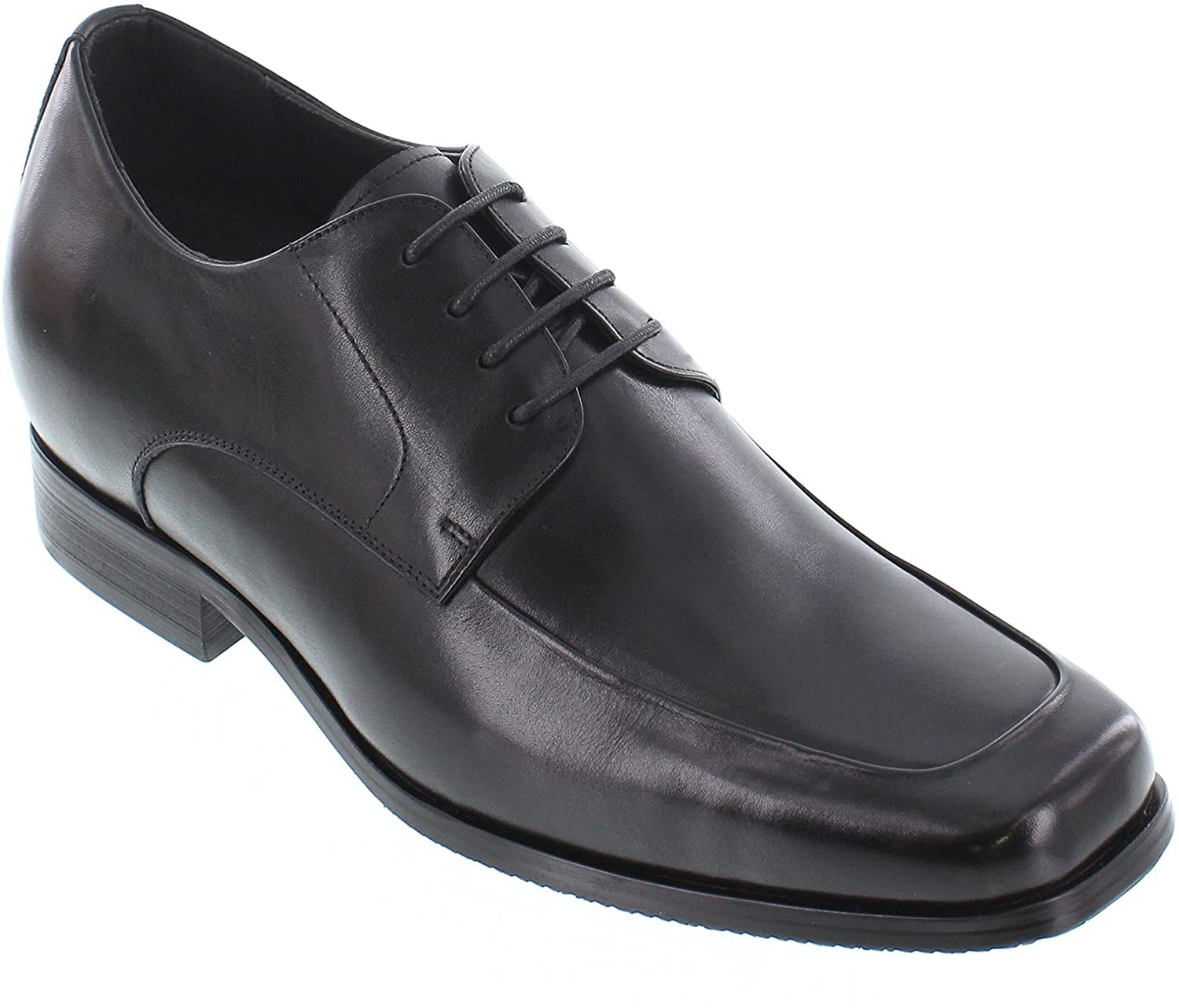 CALTO Men's Invisible Height Increasing Elevator Shoes - Black Premium Leather Lace-up Formal Oxfords - 3 Inches Taller - Y3036