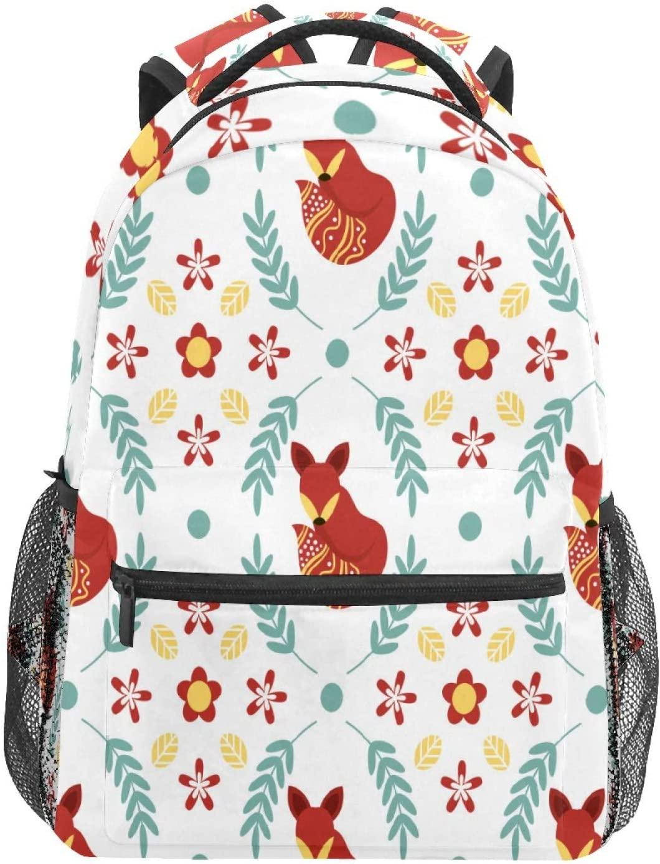 School Backpacks Vintage Boho Flat Scandinavian Folk Flowers Leaves Travel Laptop Small Backpack for Woman Teen Girls Boys Middle Student Book Bag