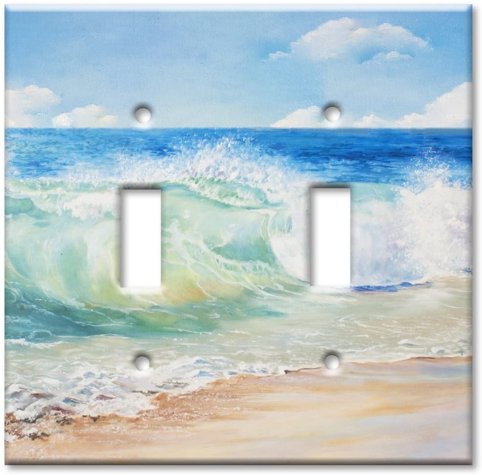 Art Plates Brand Double Gang Toggle OVERSIZE Switch/OVER SIZE Wall Plate - Beach Painting