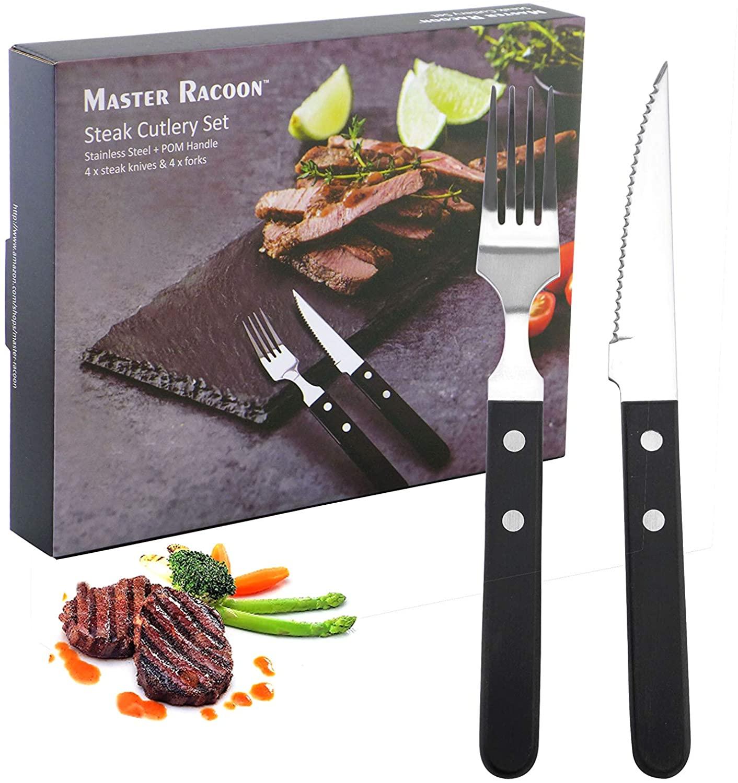 Master Racoon Stainless Steel Steak Cutlery Set Steak Knife And Fork Set 8 Piece