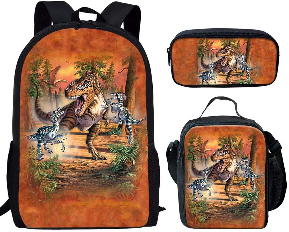 UNICEU Animal Dinosaur Print Childrens Student School Backpack Set Book Bag Lunchbag with Pencil Case 3 PCS