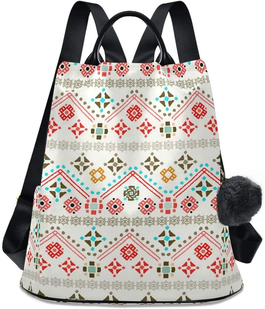 ALAZA Boho Bohemian Ethnic Backpack Purse for Women Anti Theft Fashion Back Pack Shoulder Bag