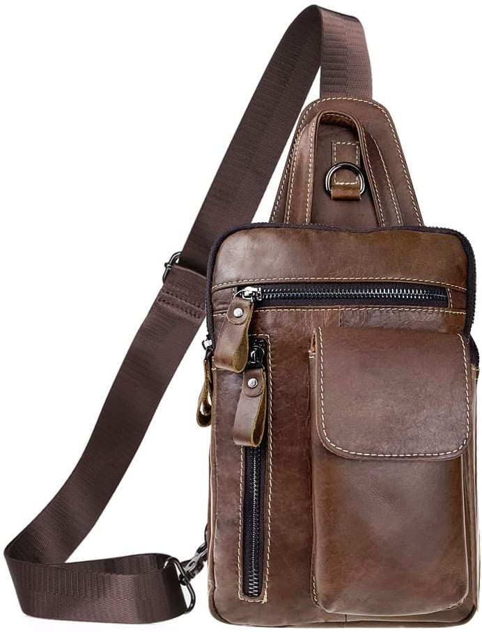 Tippnox Men's Leather Sling Bag Multipurpose Crossbody Shoulder Chest Daypack Backpacks Outdoor Travel Packs (Brown)