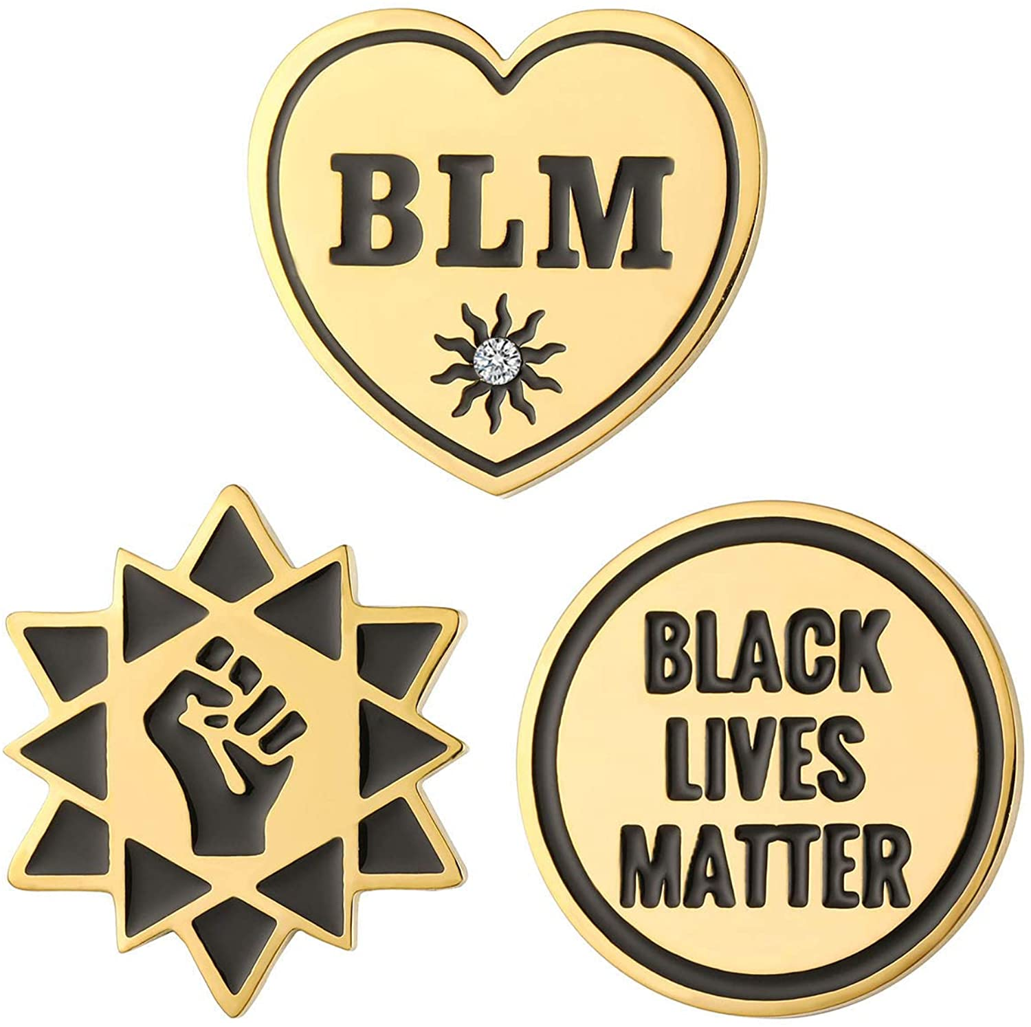 luomart Black Lives Matter Pin -BLM Pin-Black Raised Fist Pin-Enamel Pins Brooches Buttons for Hat Shirt Backpack