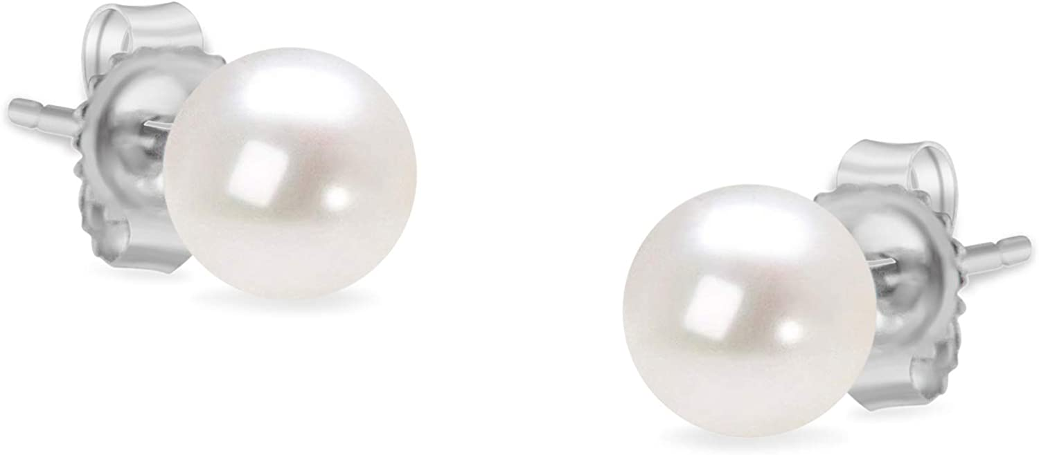14K Gold Round Freshwater Akoya Cultured Pearl Solitaire Stud Earrings AAA+ Quality - Choice of Gold Color & Pearl Size