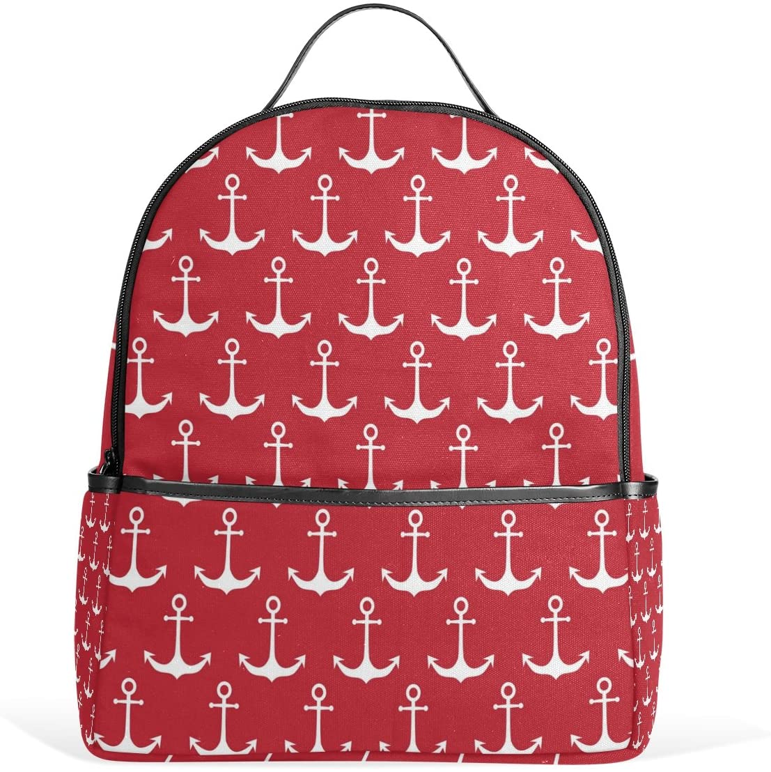 Use4 Red White Anchor Polyester Backpack School Travel Bag