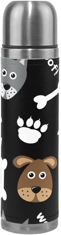 ALAZA Cute Cartoon Dog Paw Woof Animal Vacuum Flask 17 oz, Double Layer Stainless Steel Vacuum Insulated PU Leather Travel Mug Kettle Bottle Cup