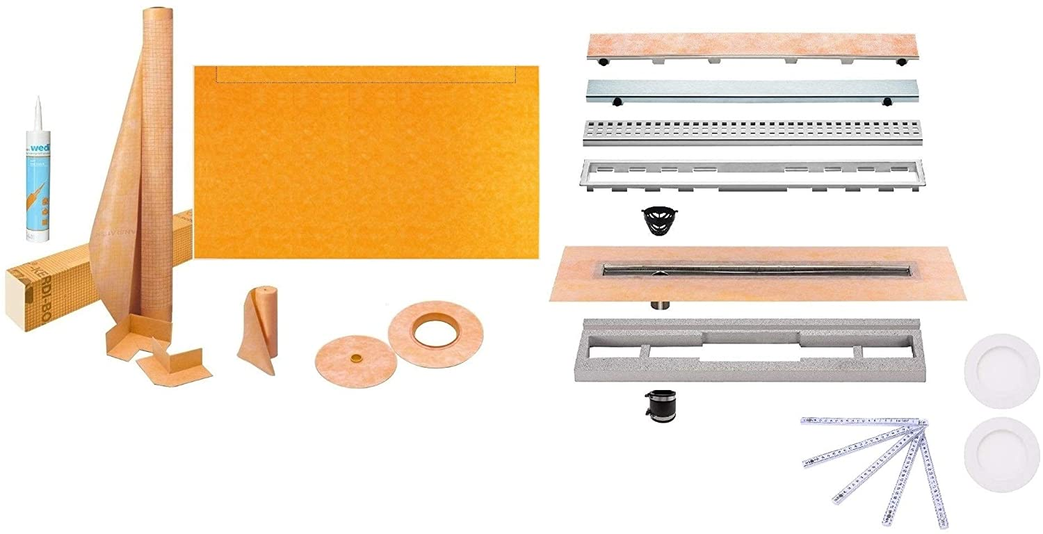 Schluter Kerdi-Line Shower Kit with 76 x 38 Inch Tray, Offset Drain Outlet on the Long Side (KSLT1930/965S), and 28 Inch Linear Offset Channel Body with Brushed Stainless Steel Closed Grate