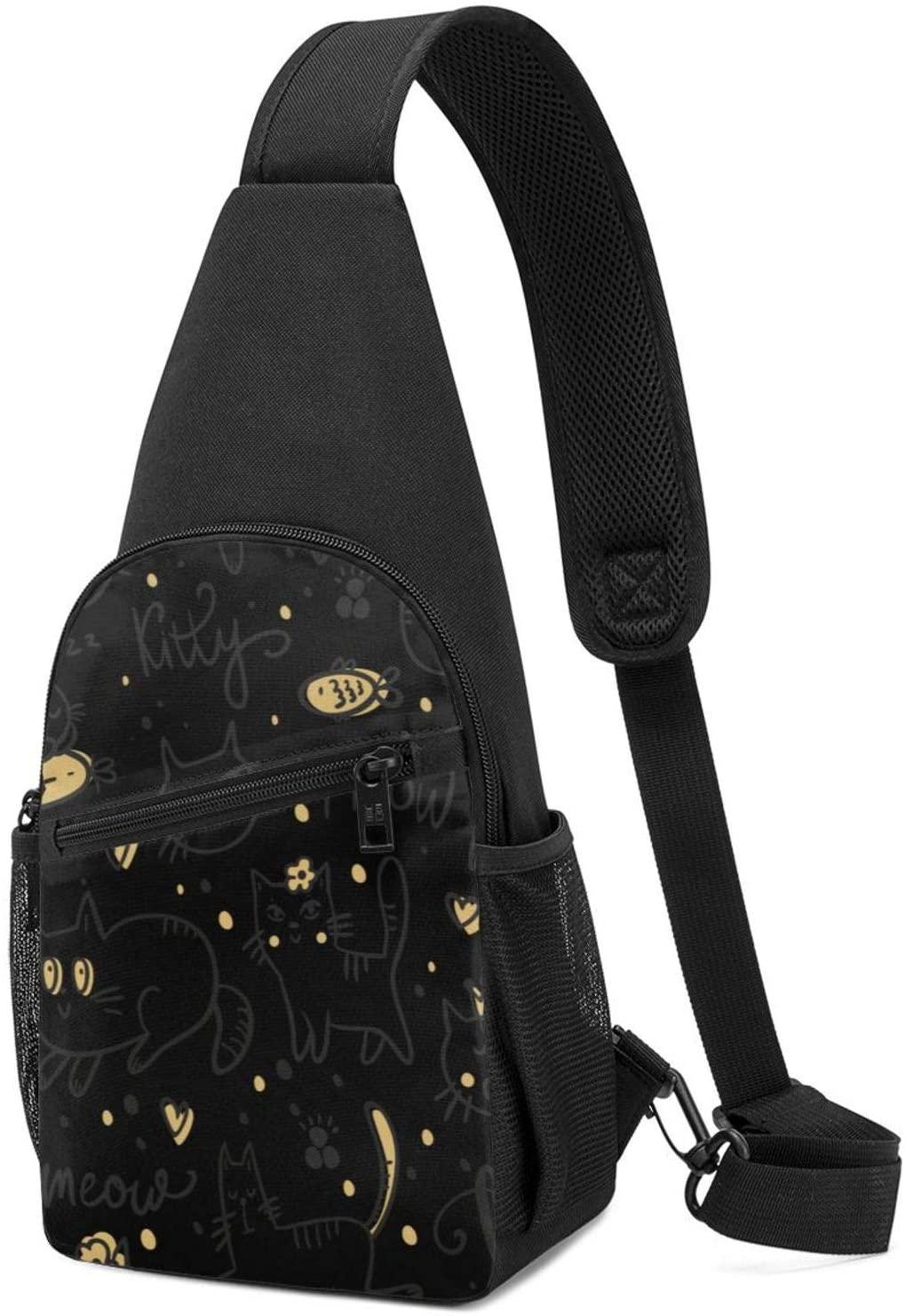 NiYoung Men Women Cute Kitty Meow Cat Sling Bag Fashion Crossbody Shoulder Bag Multipurpose Sling Bags Shoulder Backpack with Adjustable Strap