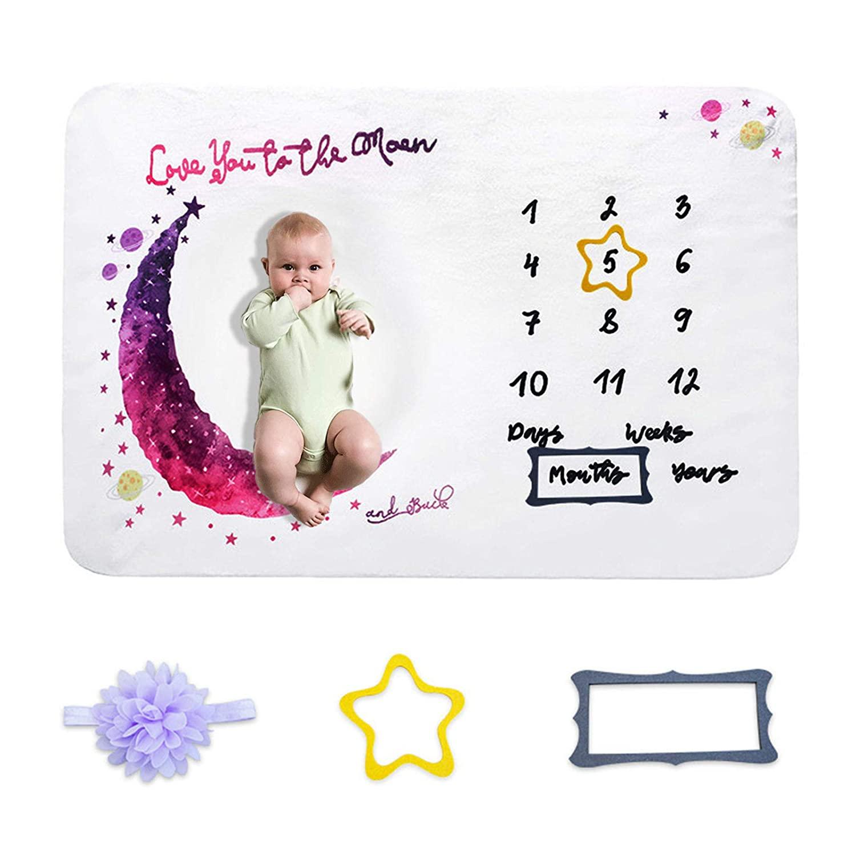 Baby Girl Monthly Milestone Blanket Newborn Photo Photography Prop Blanket Soft Fleece Love You to The Moon Nurser Shower Blankets