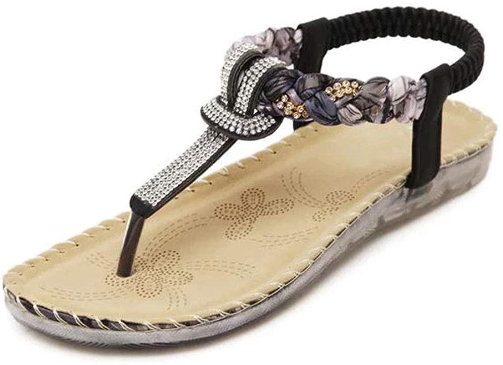 Deals Weave Style Rhinestone Sandals - Anti-Slip Comfortable Soft Braided