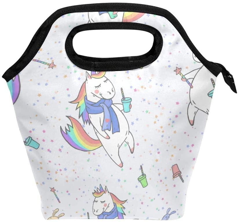 Lunch Box for Girls Lunch Bag Insulated Lunchbox for School Cute Hand Drawn Cute Unicorns 02