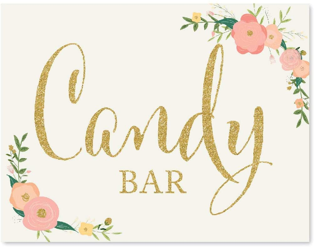 Andaz Press Wedding Party Signs, Faux Gold Glitter with Peach Coral Floral Flowers, 8.5x11-inch, Candy Bar Reception Dessert Table Sign, 1-Pack