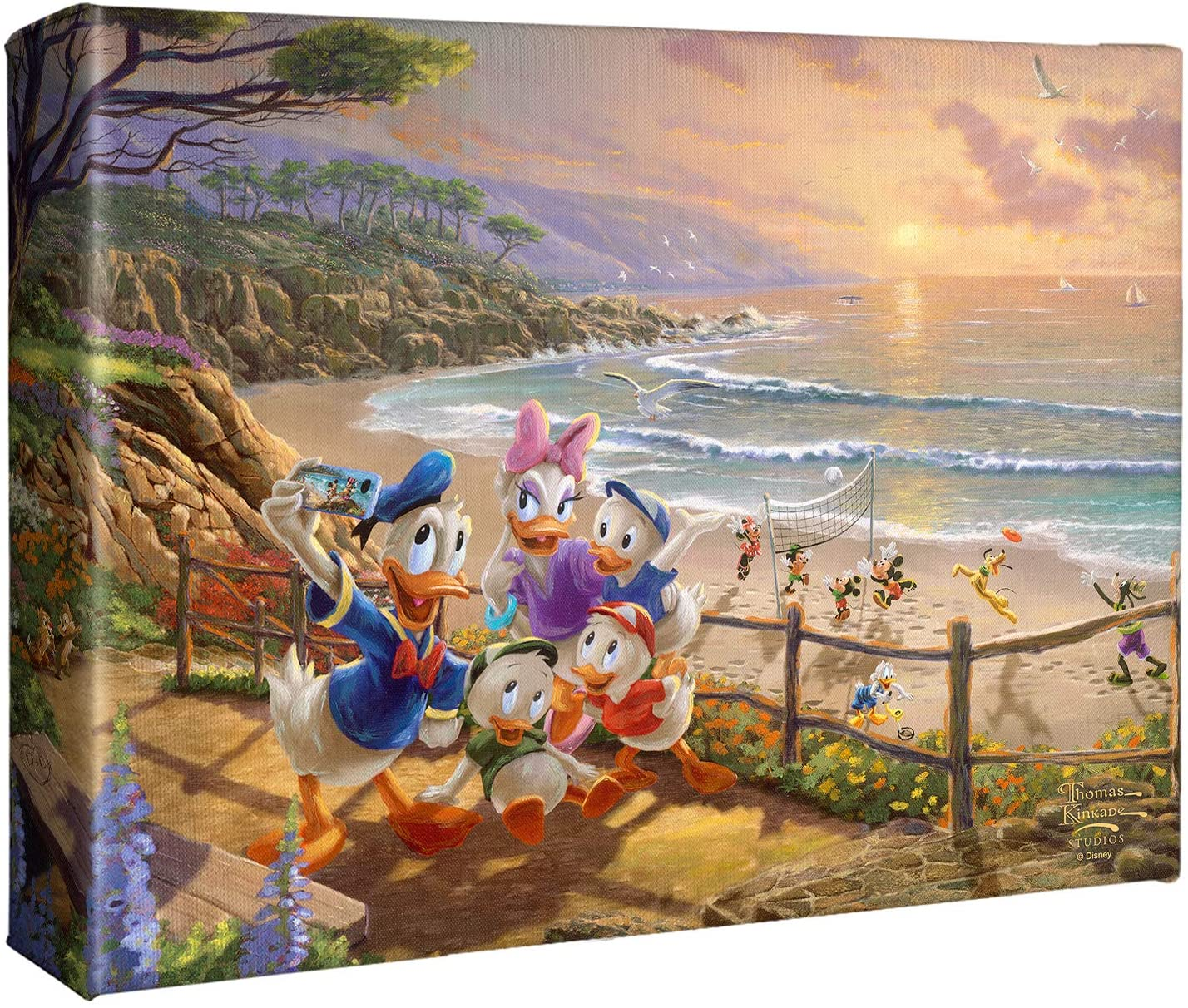 Thomas Kinkade Studios Donald and Daisy A Duck Day Afternoon 8 x 10 Wrapped Canvas