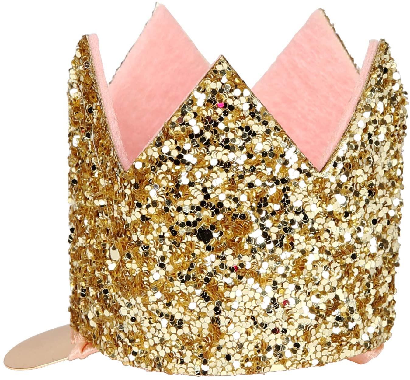 Meri Meri Mini Gold Glitter Crown Hair Clip - Glitter Fabric with Pink Felt Lining
