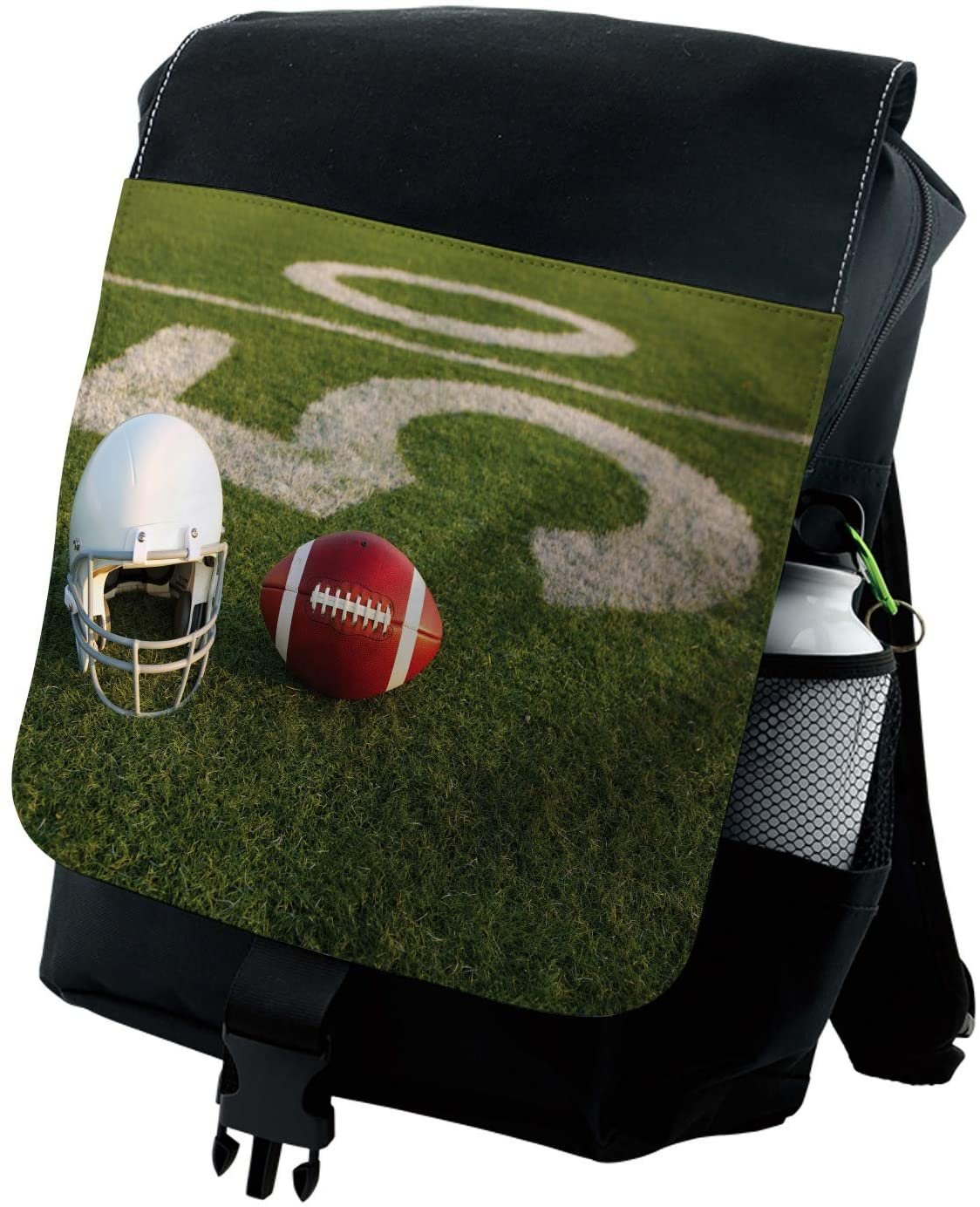 Lunarable Sports Backpack, Football on the Green Grass, Durable All-Purpose Bag