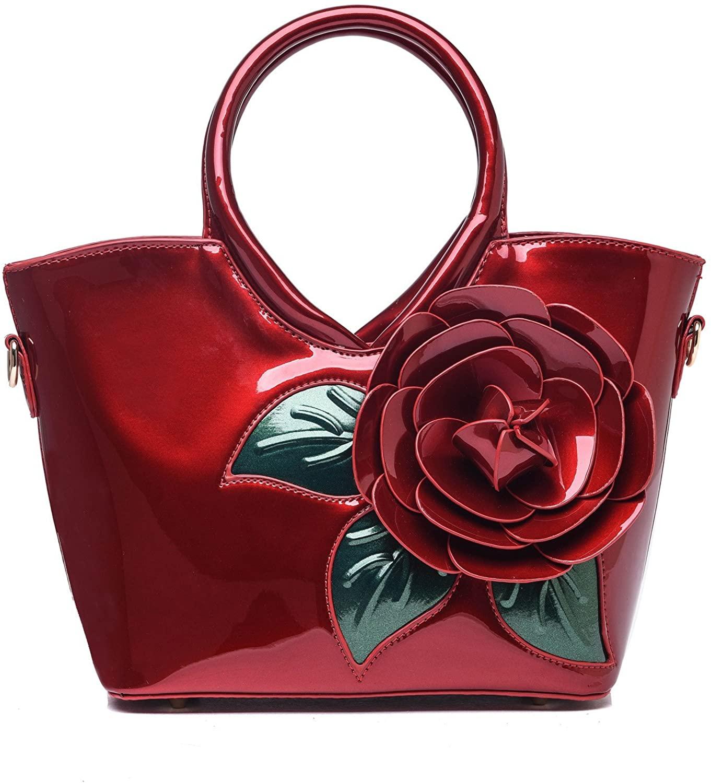 KAXIDY Ladies Girls Patent Leather Flower Handbag Shoulder Bag Satchel Messenger Tote Top-Handle
