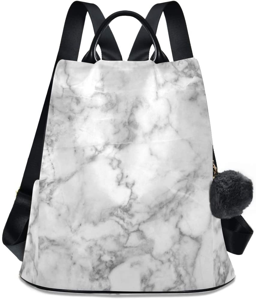 ALAZA Grey Marble Backpack for Daily Shopping Travel