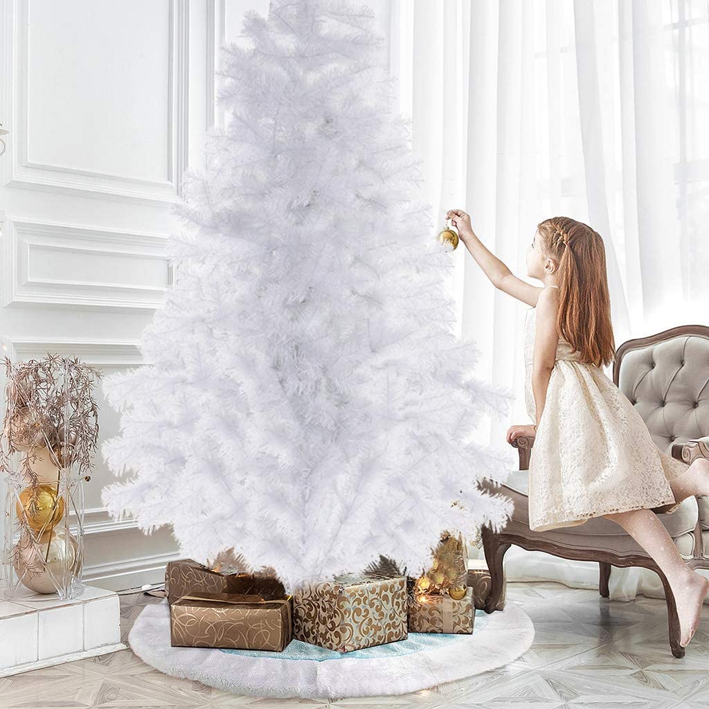 7FT Snow Flocked Artificial Christmas Tree, 700 Tips Premium Xmas Tree Foldable Metal Stand Indoor Outdoor Christmas Decoration - White No Tools Requirement Best Holiday Decor (White)