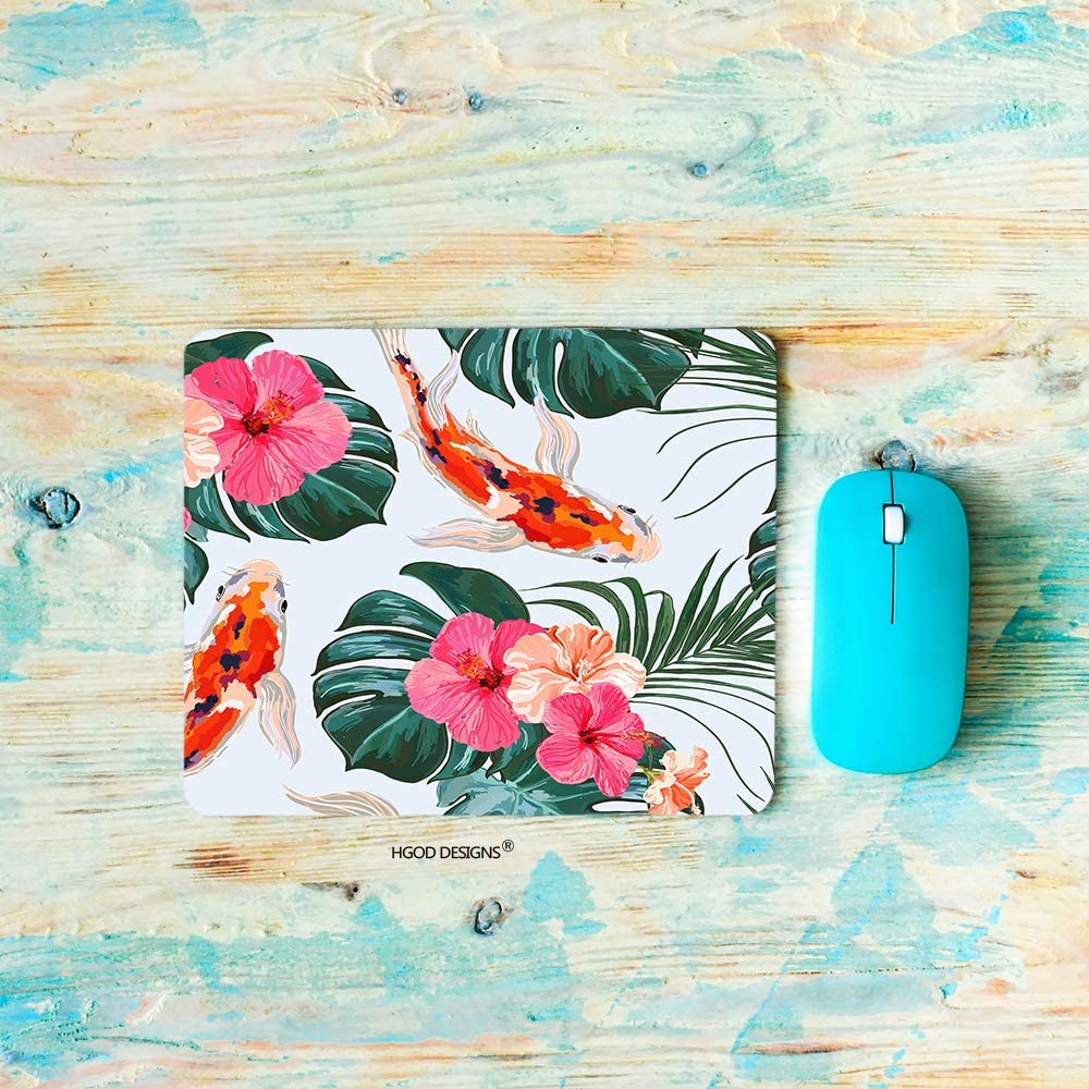 HGOD DESIGNS Flower Gaming Mouse Pad,Beautiful Floral Summer with Tropical Palm Leaves Koi Fish Hibiscus Mousepad Rectangle Non-Slip Rubber Mouse Pads(7.9