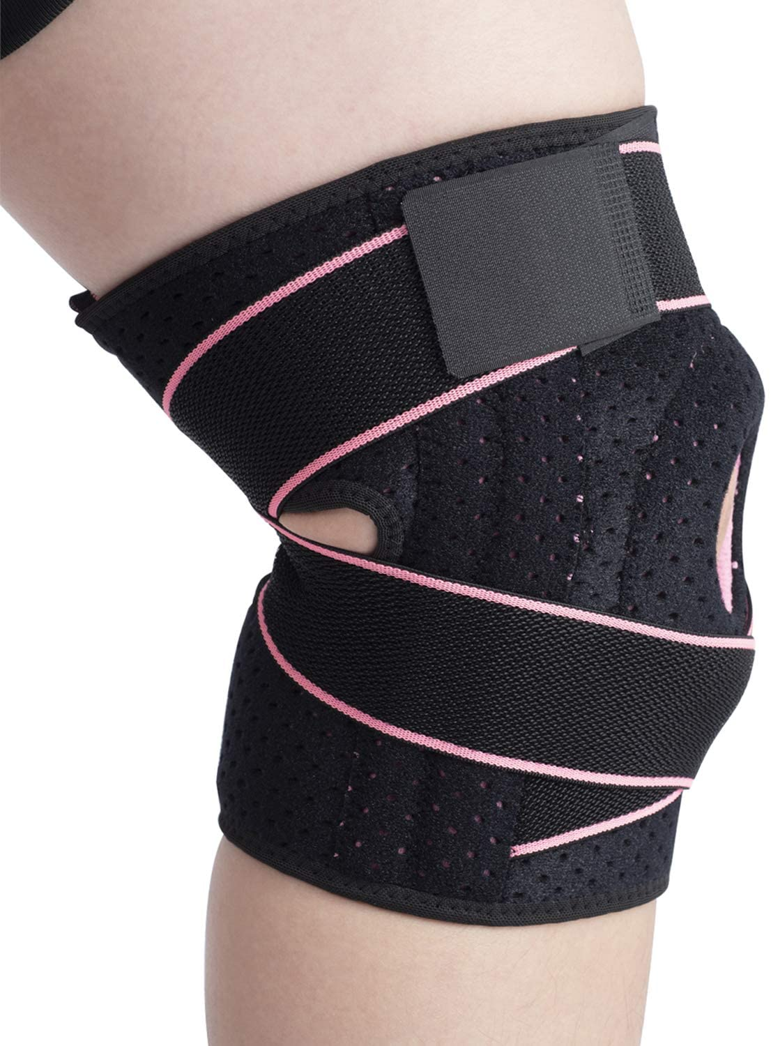 Knee Brace Support with Side Stabilizers & Patella Gel Pads - Adjustable Compression Open Patella Relieves Arthritis,Meniscus Tear,ACL,MCL,Tendonitis Pain for Men and Women (Pink,Pack of 1)