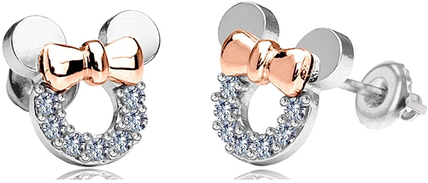 Gemstar Jewellery White Cubic Zirconia 925 Sterling Silver Mini Mouse Stud Earrings Screw Back
