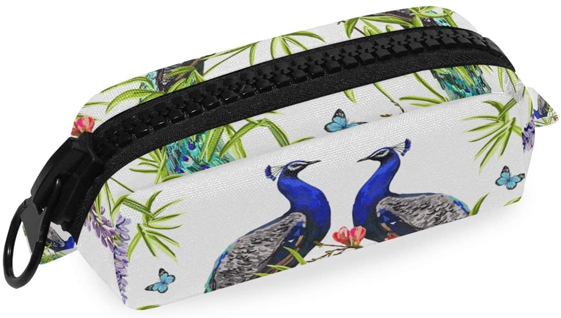 Linomo Pencil Bag Tropical Peacock Large Zipper Pencil Case Canvas Pen Bag Pouch Holder for Travel Office School