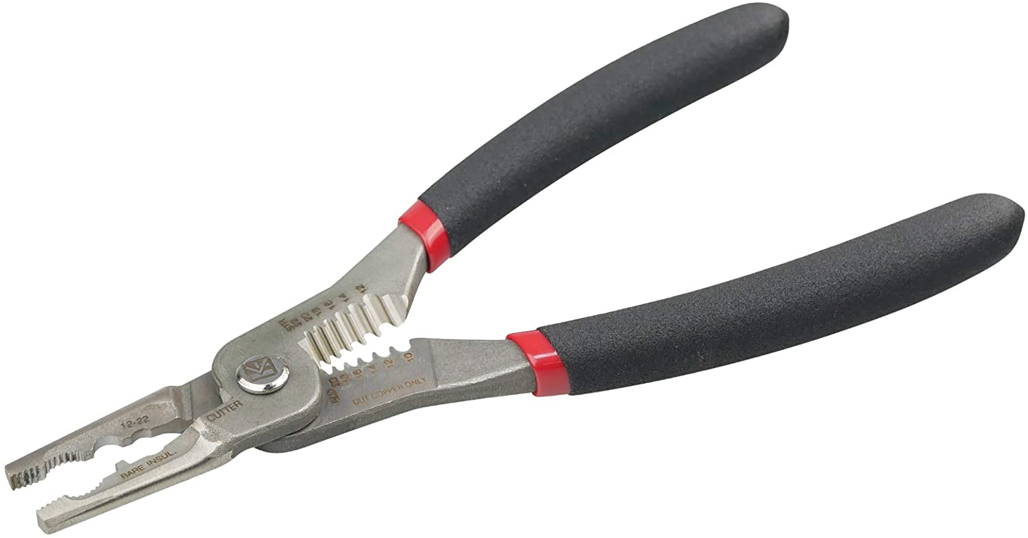 KAIFNT K651 5-In-1 Combination Wire Service Tool, Stainless Steel, Stripping Crimping and Gripping Pliers, 7