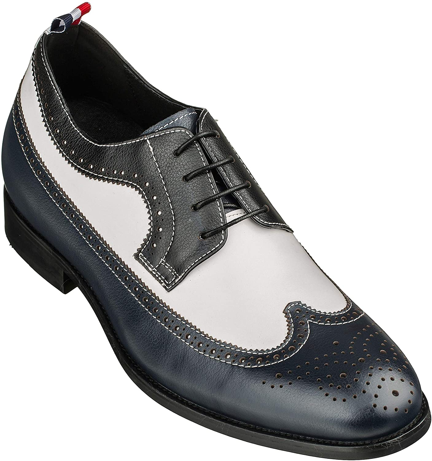 CALTO Men's Invisible Height Increasing Elevator Shoes - Navy/White/Black Premium Leather Lace-up Formal Wing-tip Oxfords - 3 Inches Taller - S0810