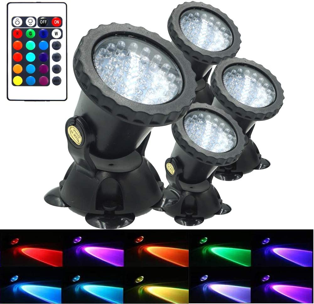 AomeTech Upgraded Pond Light, Waterproof Underwater Submersible Spotlights with Remote, 36 LED Multi-Color Adjustable Dimmable Lights for Aquarium, Fish Tank, Swimming Pool, Garden (4pack.)