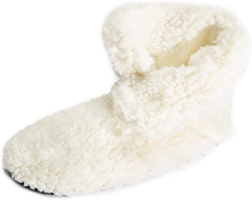 Slipper Boots for Women - Cozy Fuzzy Sherpa Booties with Non-Skid Grippers Cream Small