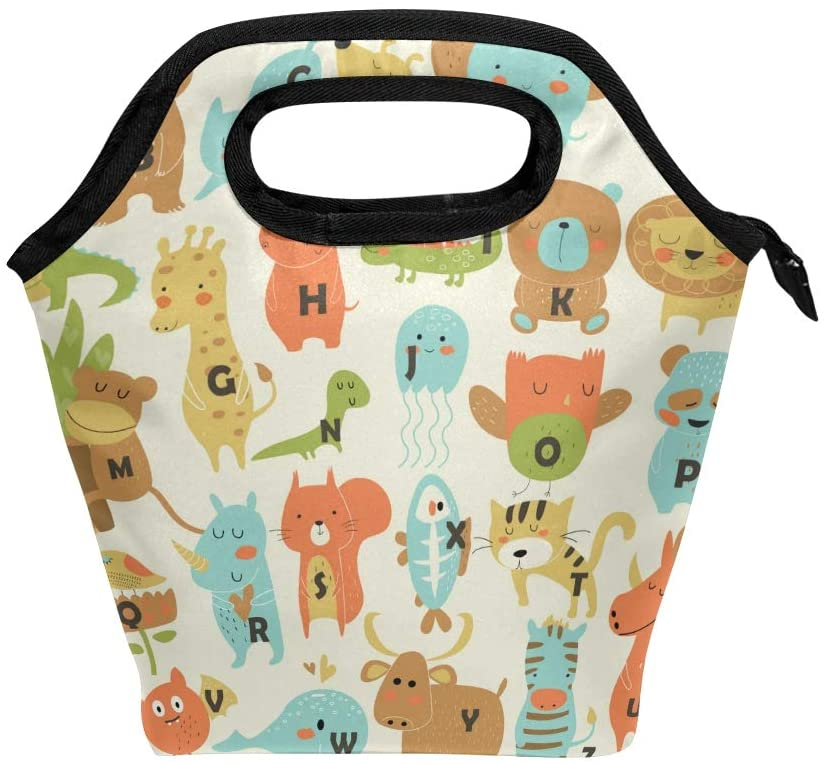 Lunch Box for Girls Lunch Bag Insulated Lunchbox for School Cute Zoo Alphabet 12