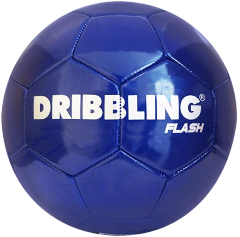 DRB Soccer Ball Flash - Official Size 5 - Machine Sewed Durable PVC Thread Lining, Smooth Re-Creative Indoor Outdoor Football Outdoor Indoor Use, Professional, College, High School (Blue)
