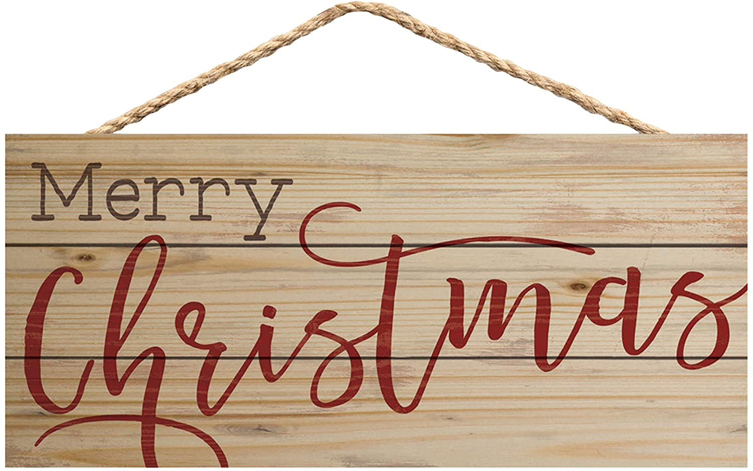P. Graham Dunn Merry Christmas Natural 10 x 4.5 Wood Wall Hanging Plaque Sign