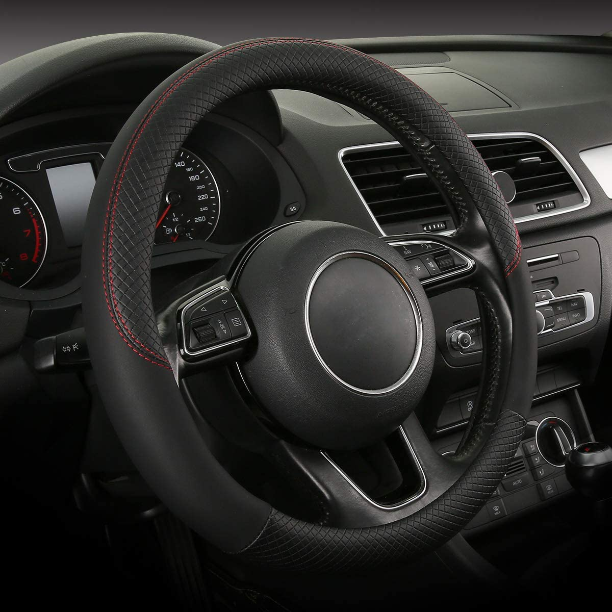 SOBONITO Leatheretted Steering Wheel Cover-Black Steering Cover for Men Universal Size (swc-04bla)