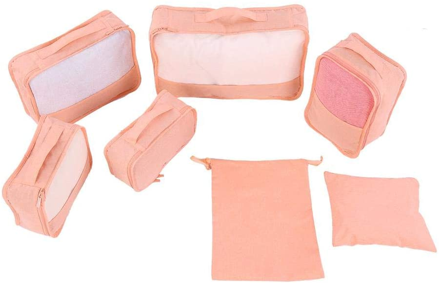 Yosooo Travel Waterproof Storage Bags Clothes Underwear Bra Packing Cube Cubes Set Compression Luggage Suitcase Organizer Closet Divider Container(7PCS) (Pink)