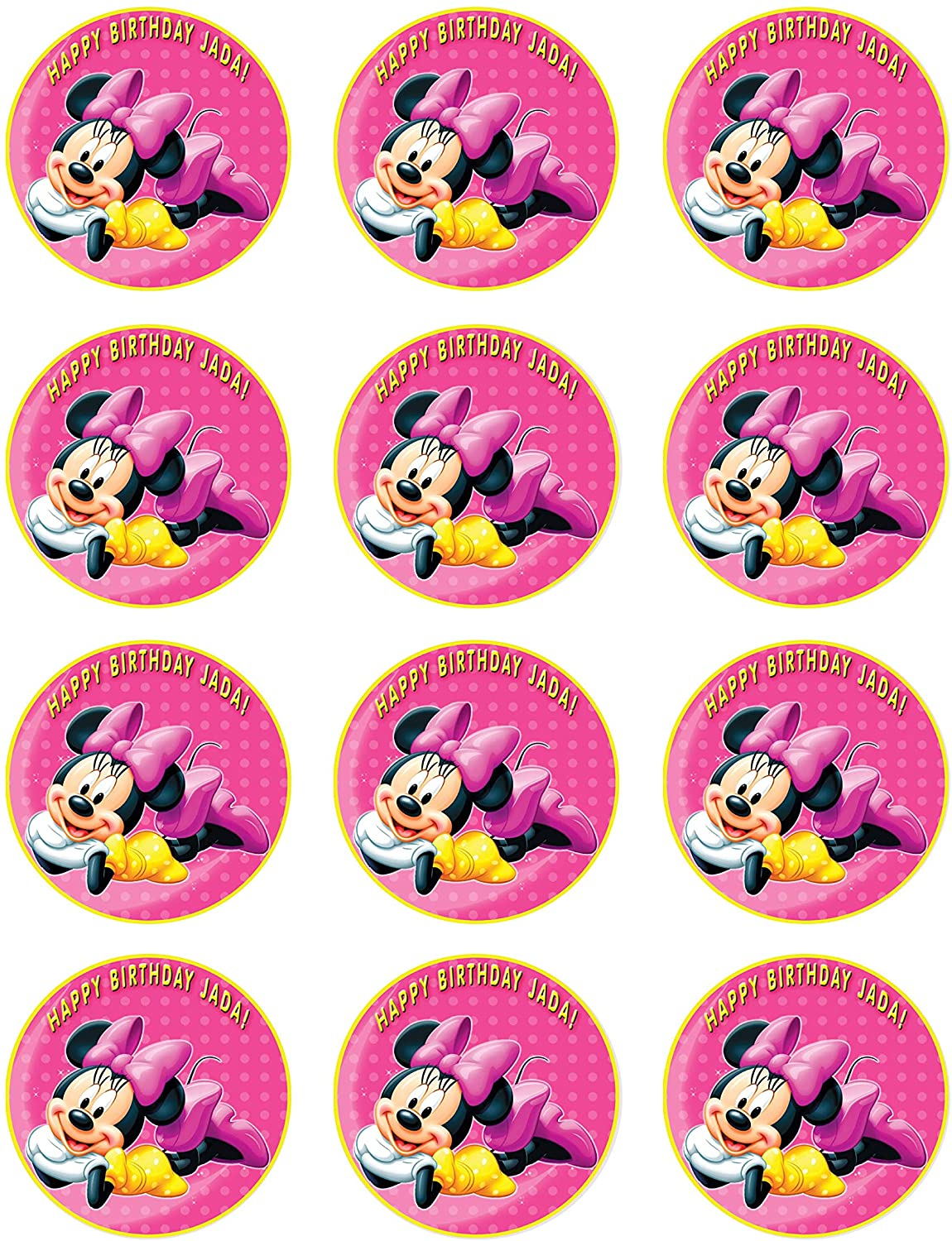 Minnie Mouse - Edible Cupcake Toppers - 2 cupcake (12 pieces/sheet)