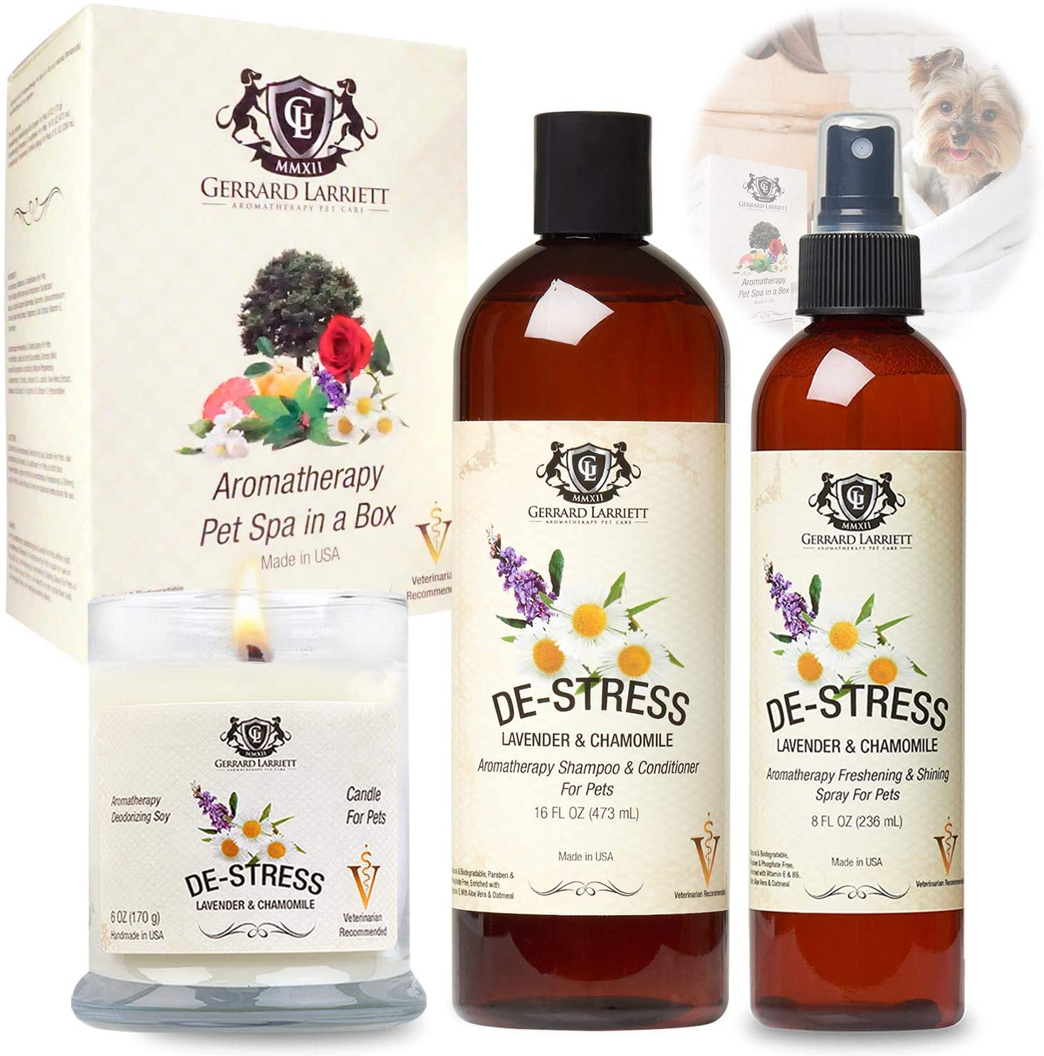 Aromatherapy Pet Spa in a Box Dog Shampoo, Dog Grooming Spray, Candle Scented Animal Lover Gift Set & Pet Odor Eliminator