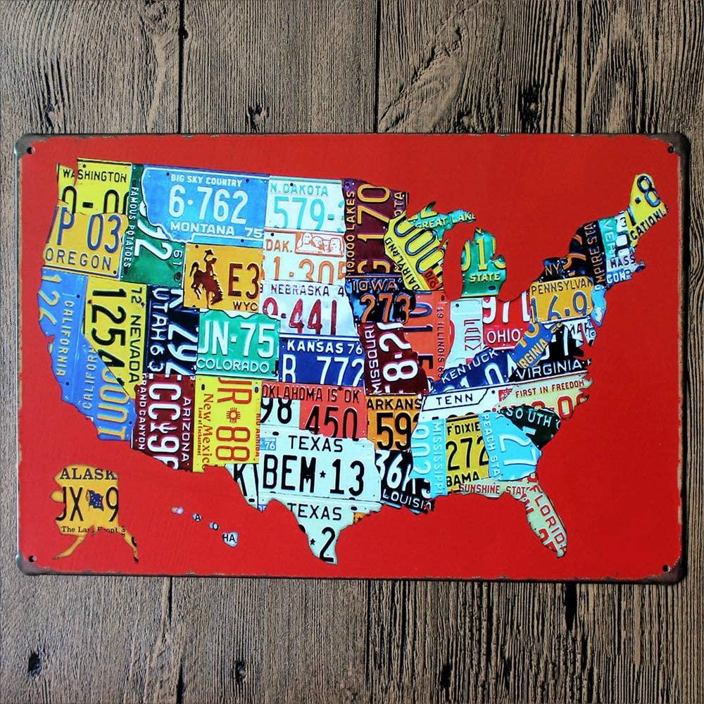 Original Retro Design Car Logo American Map Tin Metal Signs Wall Art|Thick Tinplate Print Poster Wall Decoration for Garage