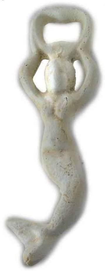 Hampton Nautical Cast Iron Swimming Mermaid Bottle Opener, 7, Antique White