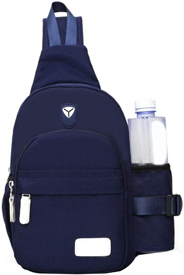 Men Women Nylon Crossbody Shoulder Chest Cycle Sling Bag Daily Travel Backpack (Blue)