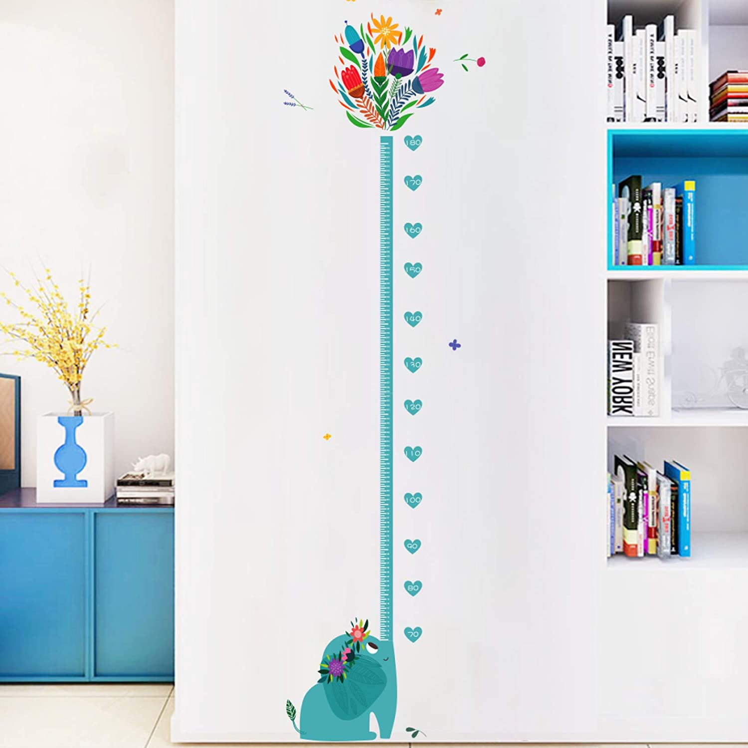 Cartoon Height Chart Kids Wall Decals Cute Animals Height Measure Wall Stickers for Kids Nursery Bedroom Decor