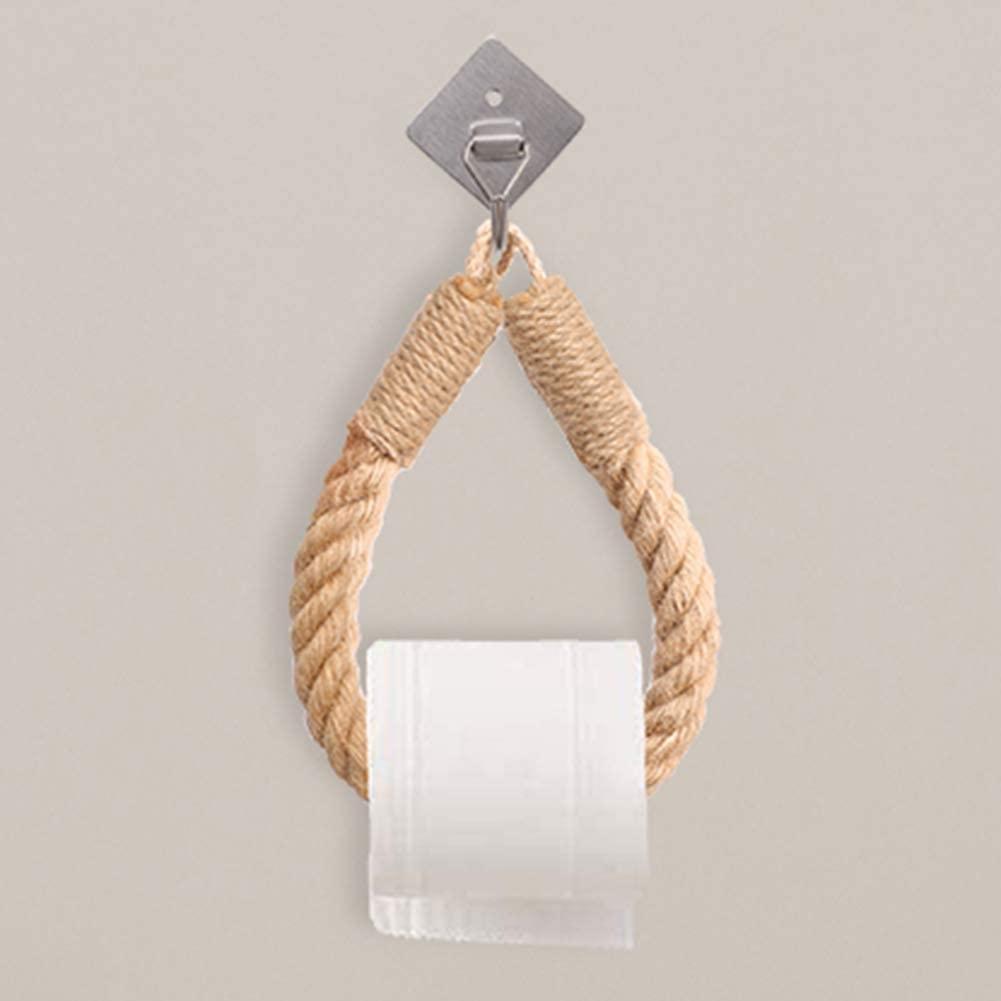 Soarlor Self-Adhesive Coastal Bathroom Paper Towel Holder, Wall-Mounted Nautical Paper Towel Holder Towel Ring for Bathroom Decor with 2 Self-Adhesive Hooks