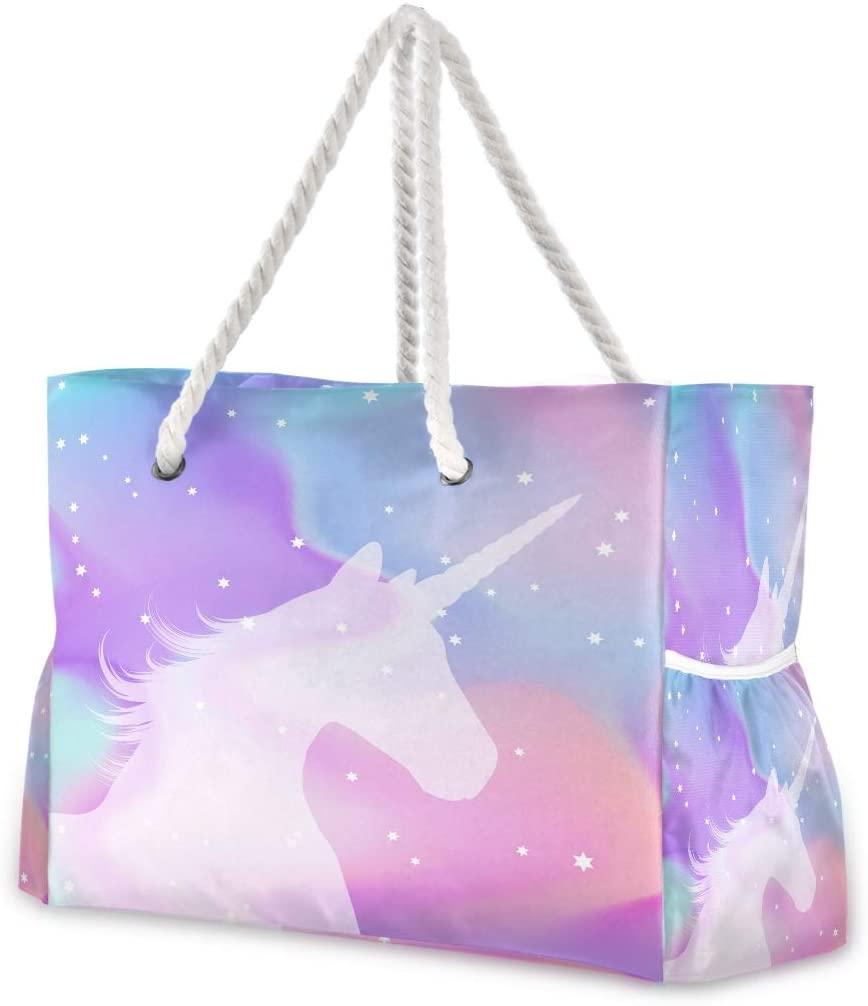 Beach Bag Large Travel Tote Bag Unicorn On A Holographic Shoulder Bag luggage bag for Gym Travel Sport