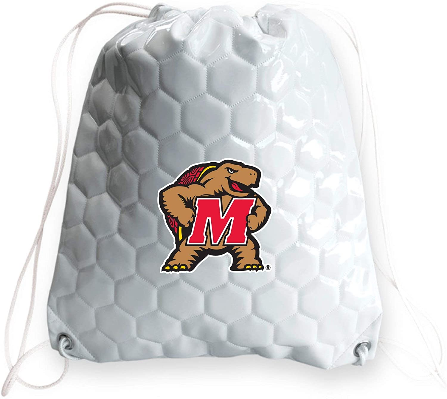 Zumer Sport Maryland Terrapins Soccer Ball Leather Drawstring Shoulder Backpack Bag - made from the same exact materials as a soccer ball - White