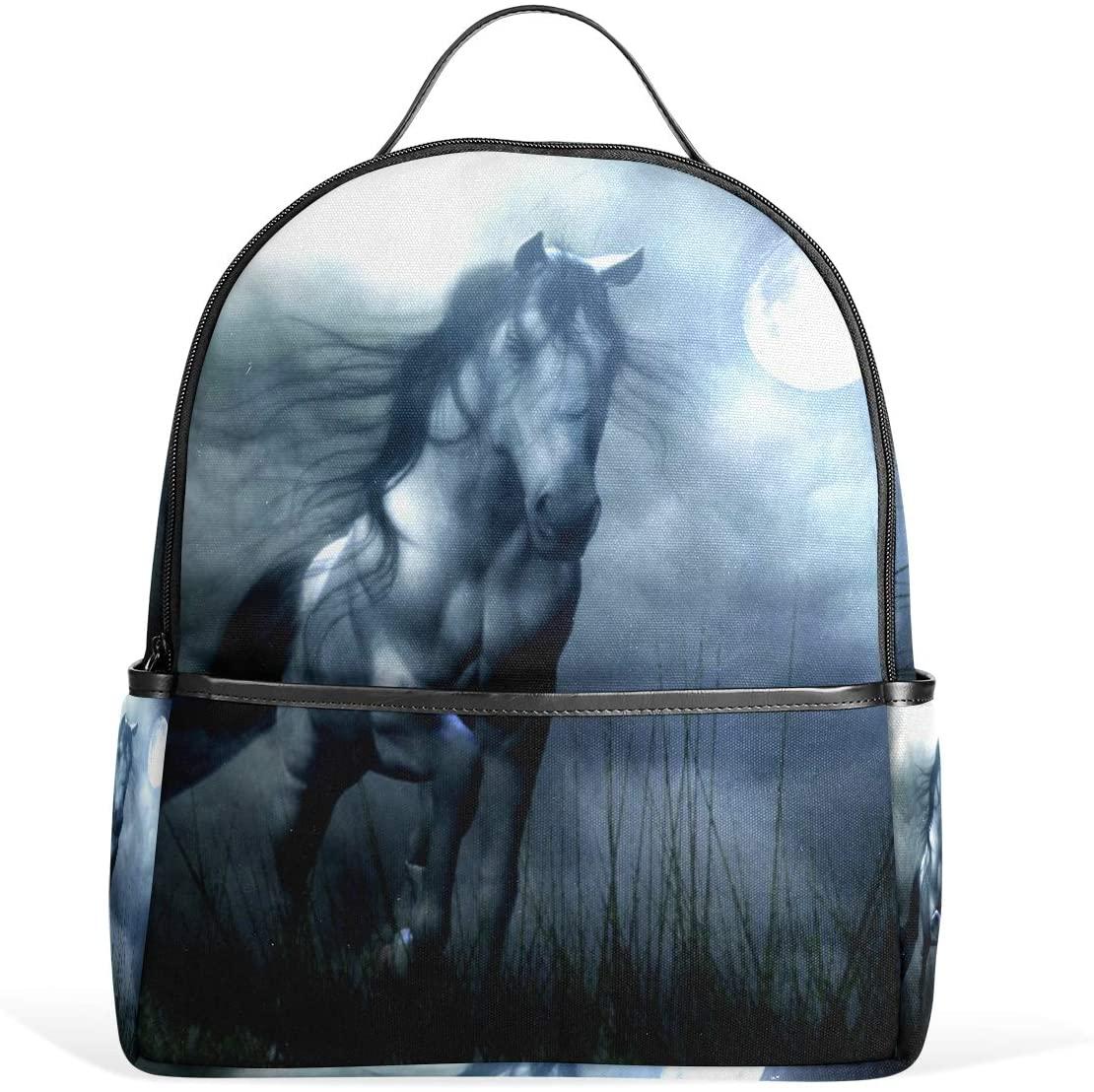 OREZI Schoolbag Bookbag Casual Travel Bag Rucksack Backpack for Girls Boys Teens Kid's White Horse In Moon Travel School Bags