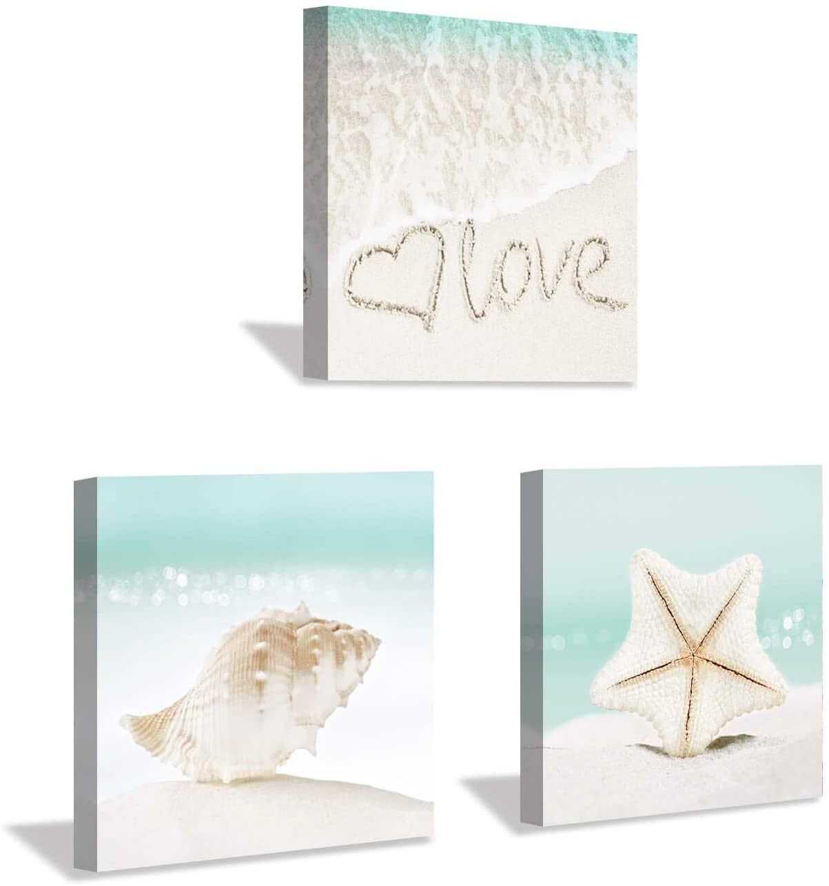 Beach Picture Artwork Seascape Painting: Seashell and Starfish Wall Art Print on Canvas for Bathroom (12 x 12 x 3 Panels)