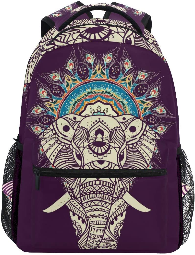 ALAZA Lightweight Backpack for School,Indian Boho Mandala Elephant School Bookbags Laptop Backpack Casual Travel for Youth Boys and Girls Back to School