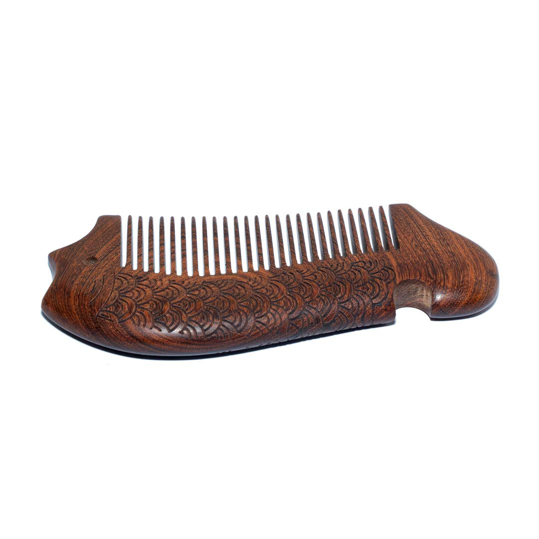 FRUZRRE wooden comb,Tooth Hair Comb for Women men,comb for Detangling and Styling Wet or Dry Curly Thick Wavy or Straight Hair or beard,Bring Gift Box (Fish shape)
