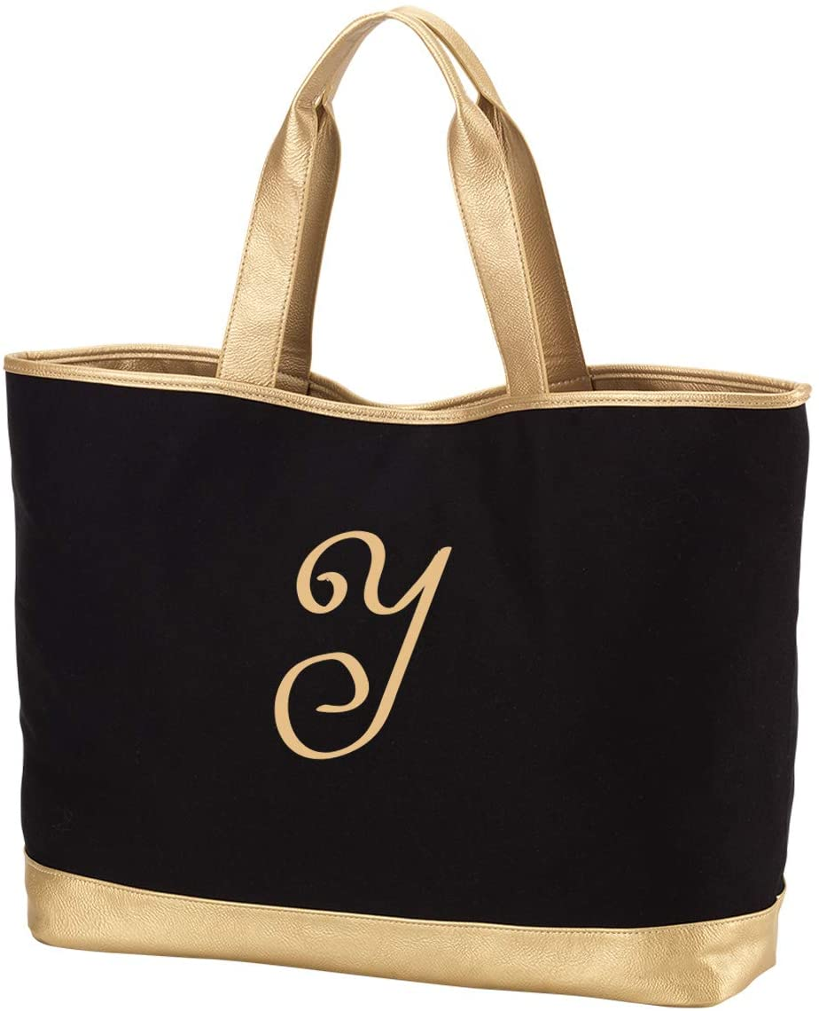 Personalized Cabana Tote Bag with Monogram Design, Casual Shoulder Bag with Embroidered Initials A to Z Letter (Black-Y)